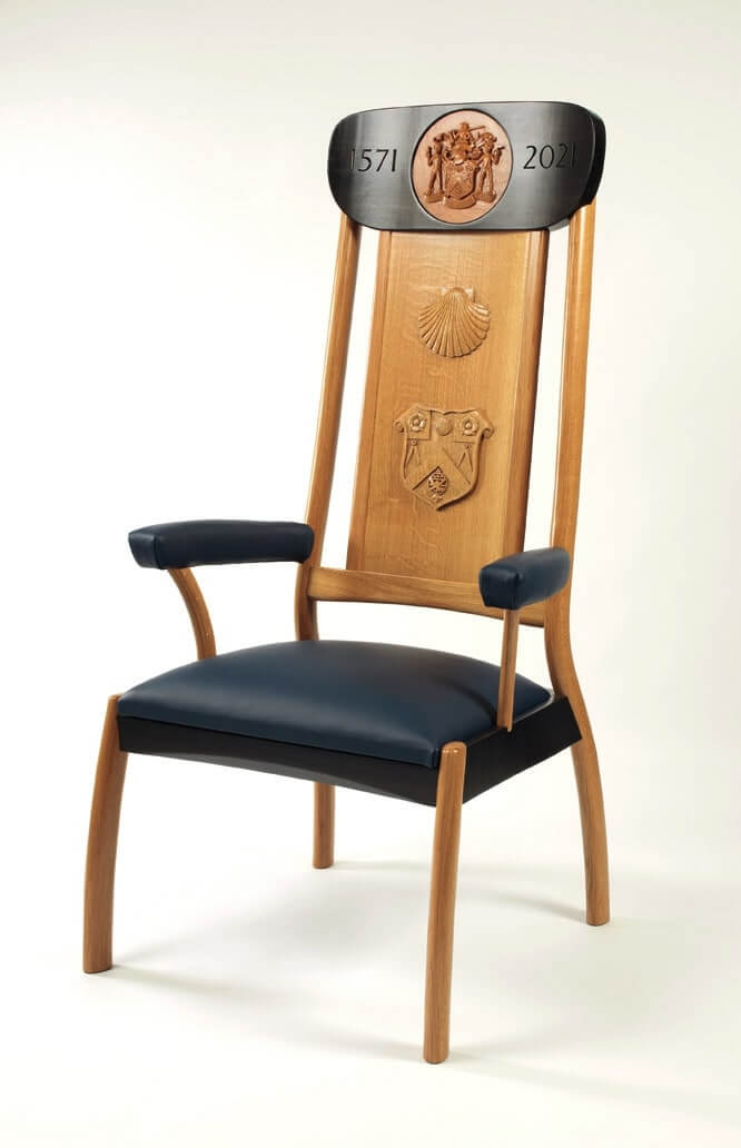 The Chair was made by Freeman Chris J P Ward with carved elements by Freeman Clunie Fretton.
