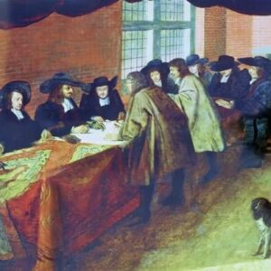 The Master, Wardens and Court of Assistants of the Joiners Company receiving the design for their new Hall, 1694